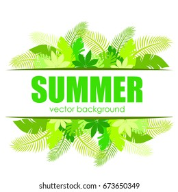 The concept of a postcard on a summer theme with summer attributes.  Beach vacation, summer, tropical plants, palm tree. Vector illustration, banner.