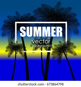 The concept of a postcard on a summer theme with summer attributes. Beach vacation, palm trees, tropics, beach, silhouette. Vector illustration, banner.