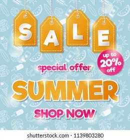 Concept of a poster for Summer Sale. Vector.