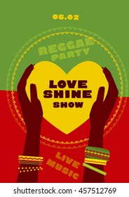 concept poster.  tribal human hand with bracelets hold yellow heart. reggae folk music background. Jamaica poster vector illustration