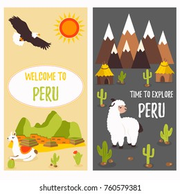 Concept posters of Peru with cute lamas and tourist destinations