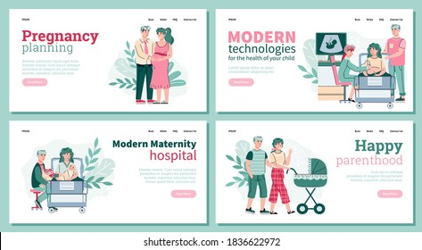 Concept of pregnancy, baby shower and maternity. Happy family is planning pregnancy, childbirth. Young couple of parents with a newborn baby. Set of vector landing pages templates. - Shutterstock ID 1836622972