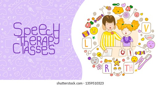 Concept presentation speech therapy. Cute childrens drawings icons in kavai style on the topic of speech therapy. Speech Therapy Concept. Friendly speech and articulation classes