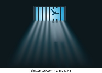 Concept of a prison escape with a prisoner who escaped from his cell and sawing the bars of his window before flying away like a bird.