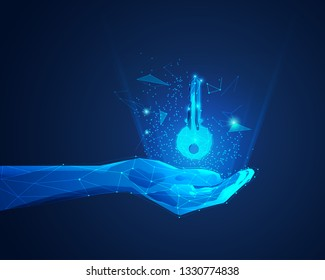 concept of private key in digital technology world, polygon hand holding futuristic key
