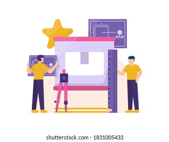 concept of product designer, graphic design, freelance, cooperation. illustration of a team of men working together to design or make an item or brand. activities of people. flat style. design element