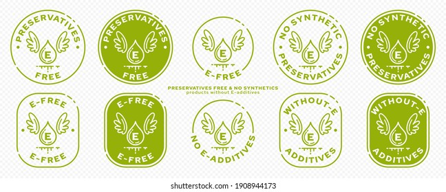 Concept for product packaging. Labeling - no preservatives. Ingredient drop icon with synthetic E-preservative and wings - symbol of freedom from ingredient. Vector set.
