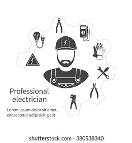 Concept of profession electrician. Repair and maintenance of electricity, service. Tools, equipment. Banner, template, logo, background. Vector. Electrician occupation.