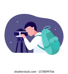 The concept of the profession of a geologist prospector. A man uses a surveyor camera. Man with a backpack