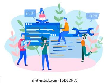 Concept Programmer, Coding, programming, website and application development . Vector illustration, application development, Software API prototyping and testing, interface building process, start up