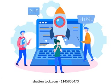 Concept Programmer, Coding, programming, website and application development . Vector illustration, application development, Software API prototyping and testing, interface building process, start up