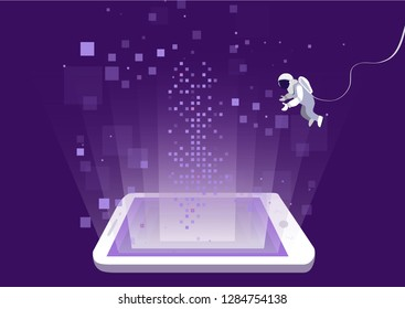 concept of programming and development of mobile applications. Astronaut in space looking deep into the gadget