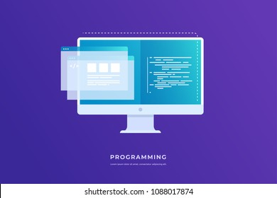 Concept of programming and software. Monitor with program code on screen and open web pages. Vector flat illustration for web page, banner, presentation.