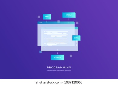 Concept of programming and software. Open web pages with coding and programming languages on blue background. Vector flat illustration for web page, banner, presentation.