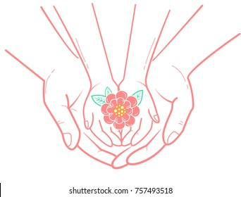 concept of protection, caring for a child in the form of an adult hand holding a child's hand and a flower in her hand. icon in the linear style
