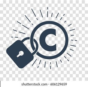 concept of protection of copyright, intellectual property in the form of an icon of copyright on the castle. silhouette icon in the linear style