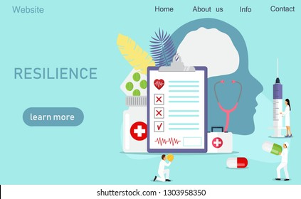 Concept of psychological resilience, neurosurgery, cardiology, cardiovascular, care, it can be use for landing page,  websites, template, UI, web design, mobile app, poster, banner, flyer.