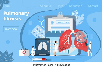 Concept of pulmonary fibrosis, tuberculosis, pneumonia, lung diagnosis x-ray machine, tiny doctors treat, scan lungs, it is landing page, website, app, banner.