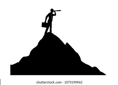 The concept of purposeful businessman. Silhouette vector of a businessman looking through a telescope on top of a mountain in search of new opportunities