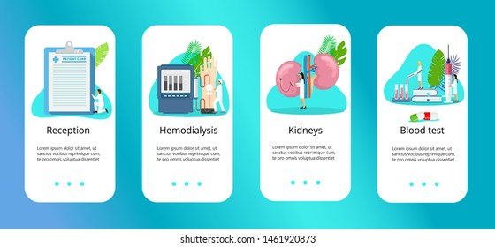 Concept of pyelonephritis, diseases and kidney stones, cystitis, urolithiasis, nephroptosis, renal failure, hydronephrosis, hemodialysis. Tiny doctors treat kidneys. Blue templates for apps.