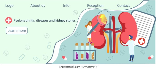 Concept of pyelonephritis, diseases and kidney stones, cystitis, urolithiasis, nephroptosis, renal failure, hydronephrosis. Tiny doctors treat kidneys. Blue background illustration for website, apps.