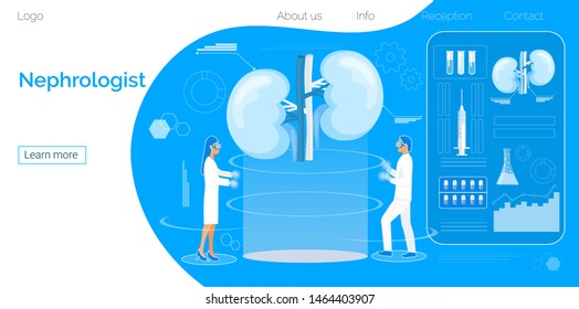 Concept of pyelonephritis and kidney stones, cystitis, urolithiasis, nephroptosis, renal failure, hydronephrosis, hemodialysis. Doctors treat kidneys in hologram machine. Blue background for website.