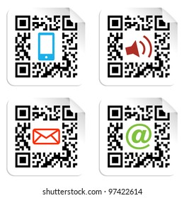 Concept with QR code label with the social media icons. Vector file available.