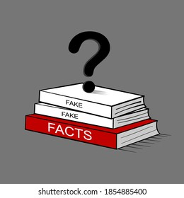 The concept of questioning to distinguish lies and seek truth. fake and facts book.