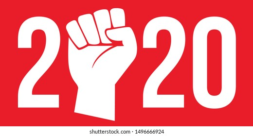 Concept of the raised fist on a red background to symbolize the strike and the demonstrations to defend the social gains of the workers, for the year 2020