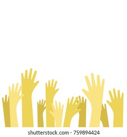 Concept of raised up hands. Vector flat illustration of education, business train