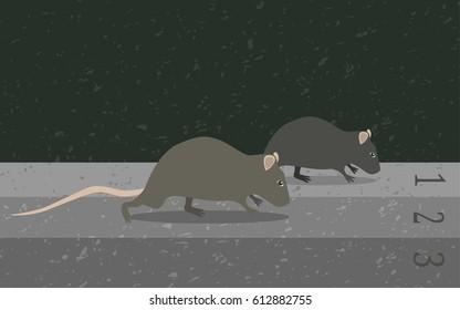 Concept rat race metaphor, vector