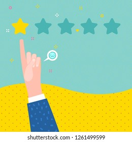 Concept of rate. Hand with pointing finger pointing to 1 rating stars. Flat design, vector illustration