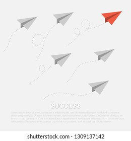 Concept of reaching goal. Paper planes race. Business competition or leadership. Paper planes flying to the destination. Winning style. Vector isolated illustration