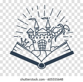 Concept of reading, in the form of an open book with a dragon lock. silhouette icon in the linear style
