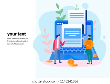 Concept Receipt of statistics data for web page, banner, presentation, social media, documents, cards, posters. Vector illustration notification on financial transaction, internet, mobile bank, bill.