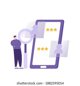 a concept of recruiting new employees or workers. illustration of an HRD or Human Resources Development staff reviewing information on prospective job applicants on a smartphone. job application.