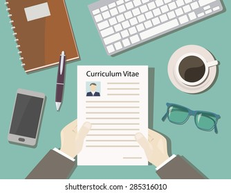 concept recruitment with a view of cv from the top - desk chief