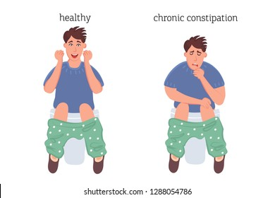The concept of rectal disease. A healthy person and a patient with chronic constipation. Vector illustration for article, banner, medical poster
