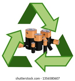 Concept of Recycle Used Batteries. Recycling symbol with used batteries. Vector graphics to design