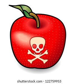 Concept: a red poisoned apple.