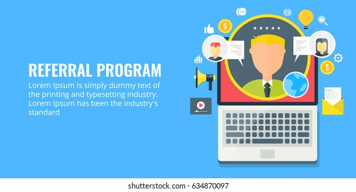 Concept for Referral program, business partnership, affiliate marketing flat vector banner with icons