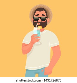 Concept of relaxation and summer vacation. A man in sunglasses is drinking a cocktail. Rest by the sea. Vector illustration in cartoon style