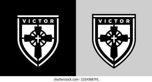 Concept religious Christian cross on shield logo sticker emblem. Jesus Christ the victor of eternal salvation icon badge. Vector illustration.