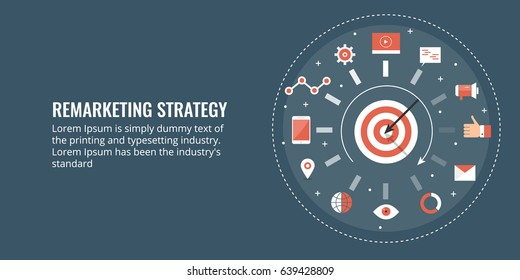 Concept for Remarketing strategy wheel, on-line target marketing, behavioral marketing campaign flat vector with icons