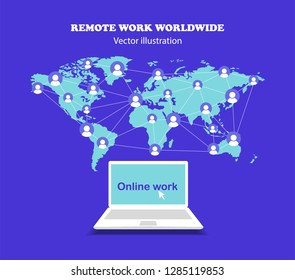 The concept of remote work around the world. Work online. Work on a laptop. Freelancer. Flat design.