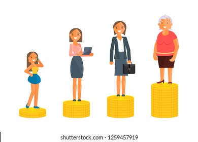 Concept of Retirement Money Plan and savings growth. Old and young woman stand on stacks of gold coins isolated on white background. Vector illustration eps 10