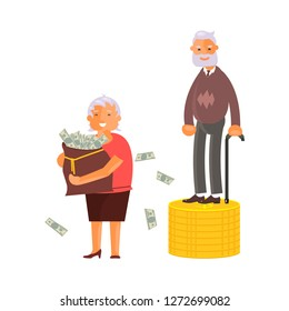 Concept of Retirement Money Plan and savings growth. Old Man and woman stand on stacks of gold coins isolated on white background. Vector illustration eps 10