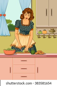 Concept of retro lady chopping vegetable in kitchen . Vector illustration