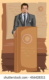 Concept of retro man speaking on microphone. Vector illustration