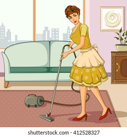 Concept of retro woman cleaning home with vaccum cleaner. Vector illustration